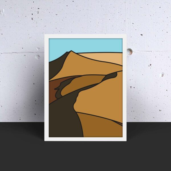 vertical fine art print with a minimalist sand dune design in a white frame