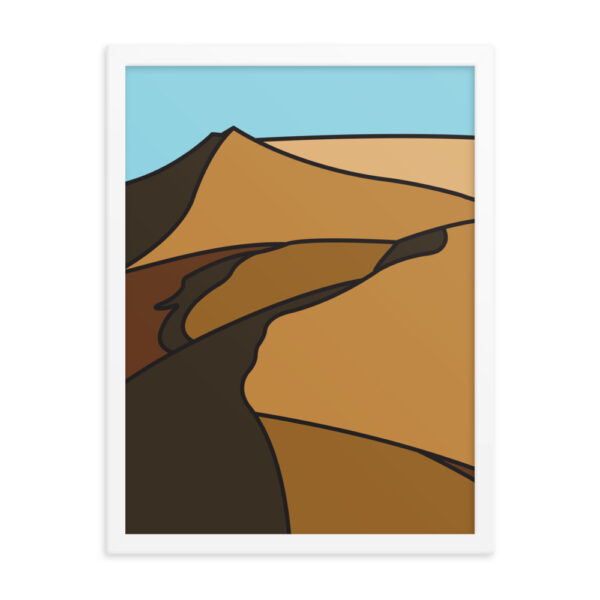 18 inch by 24 inch vertical fine art print with a minimalist sand dune design in a white frame