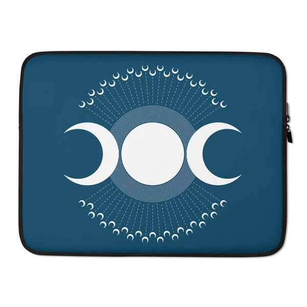 15 inch laptop sleeve with three white moons on a dark blue background