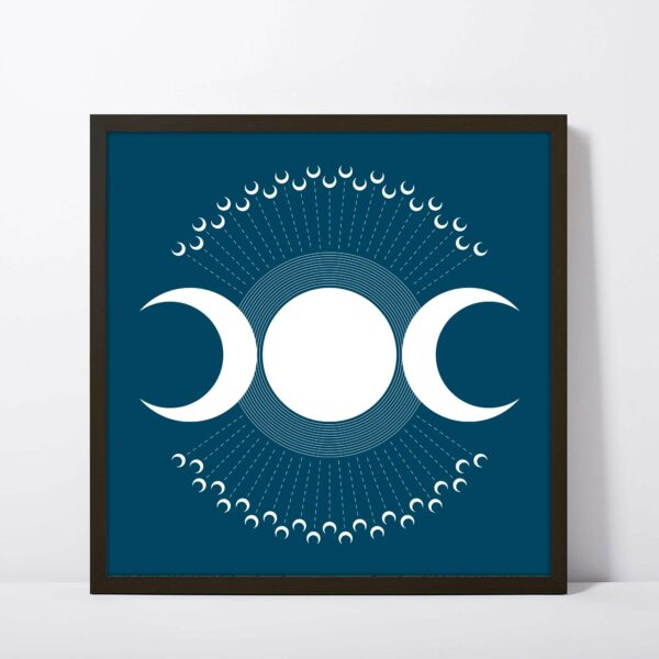 square fine art print with three white moons on a dark blue background in a black frame