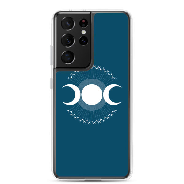 samsung galaxy s21 ultra phone case with three white moons on a blue background