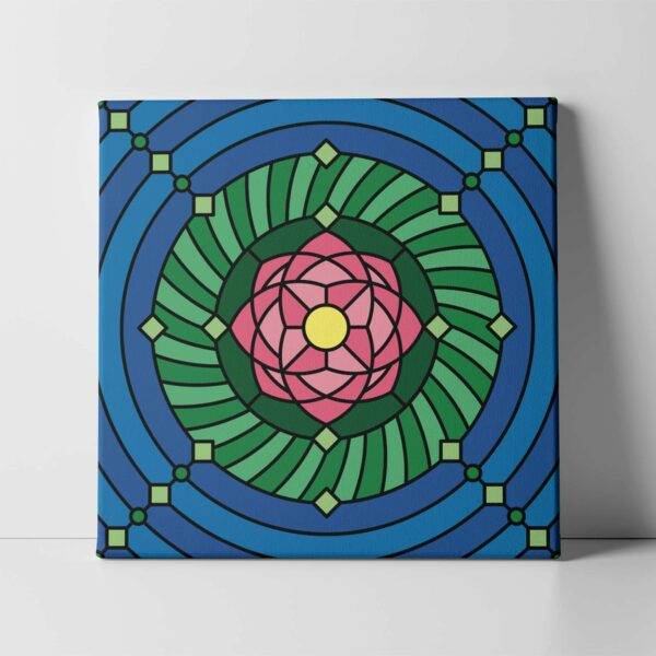 square stretched canvas print with a colorful pink green and blue lotus flower design