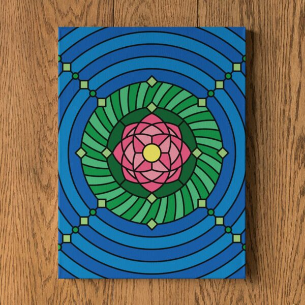 vertical stretched canvas print with a colorful pink green and blue lotus flower design hanging on a wall