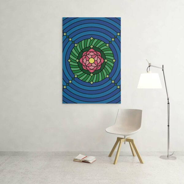 large vertical stretched canvas print with a colorful pink green and blue lotus flower design hanging on a wall