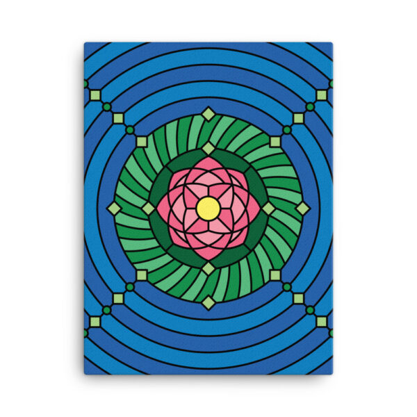 18 inch by 24 inch vertical stretched canvas print with a colorful pink green and blue lotus flower design