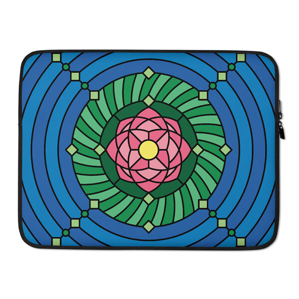 15 inch laptop sleeve with a colorful pink green and blue lotus flower design