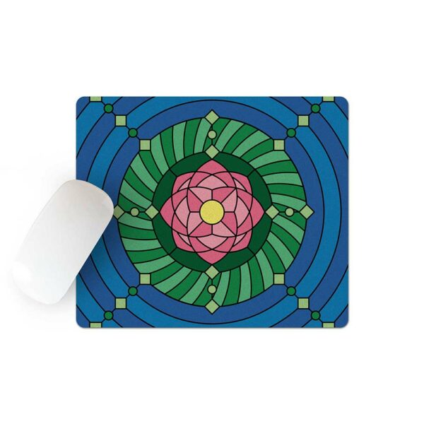 mouse pad with a colorful pink green and blue lotus flower design