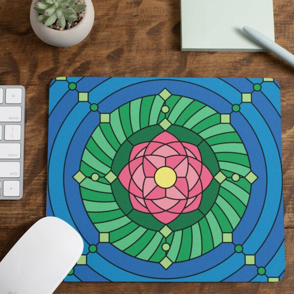 mouse pad with a colorful pink green and blue lotus flower design with a notepad