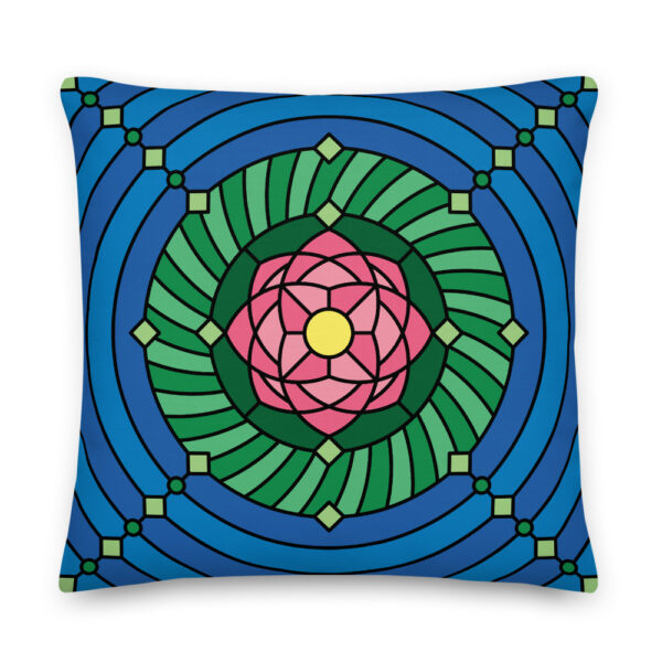 22 inch square pillow with a pink green and blue lotus flower design