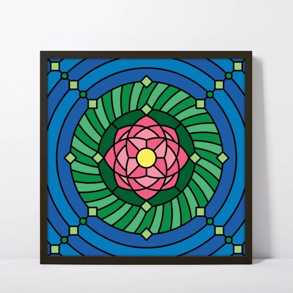 square fine art print with a colorful pink green and blue lotus flower design in a black frame