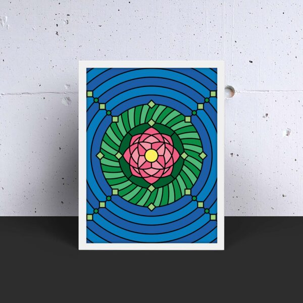 vertical fine art print with a colorful pink green and blue lotus flower design in a white frame