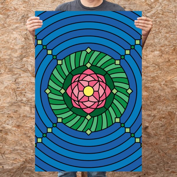 person holding a large vertical fine art print with a colorful pink green and blue lotus flower design