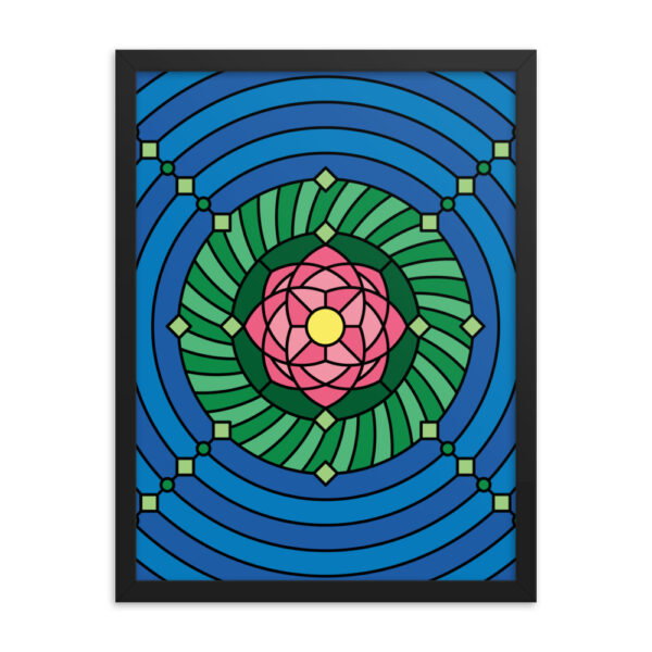 18 inch by 24 inch vertical fine art print with a colorful pink green and blue lotus flower design in a black frame