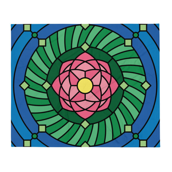 blanket with a colorful pink green and blue lotus flower design