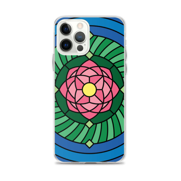 iphone 12 pro max case with a pink green and blue lotus flower illustration