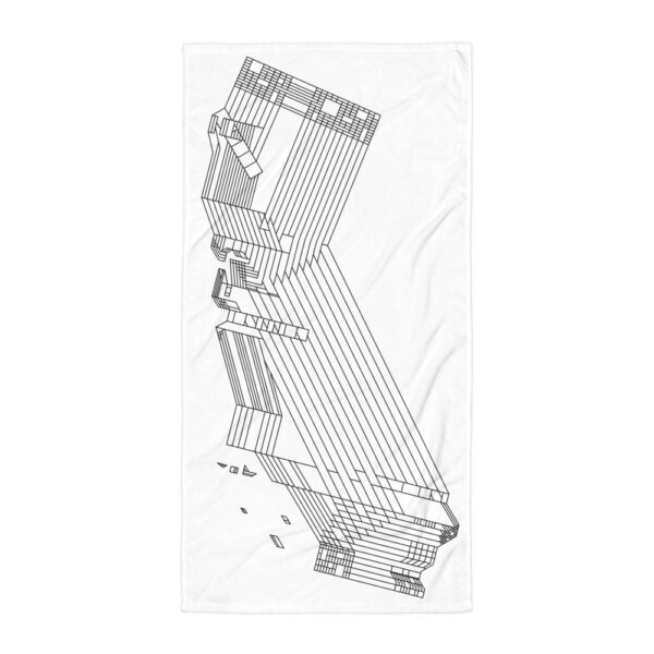 white beach towel with a black line drawing of the state of california