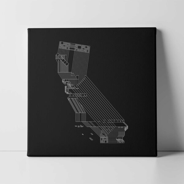 square stretched canvas art print of a white line drawing of the state of california on a black background