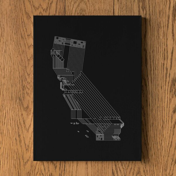 vertical stretched canvas art print of a white line drawing of the state of california on a black background hanging on a wall
