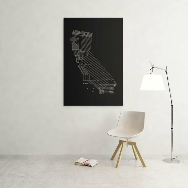 large vertical stretched canvas art print of a white line drawing of the state of california on a black background hanging on a wall