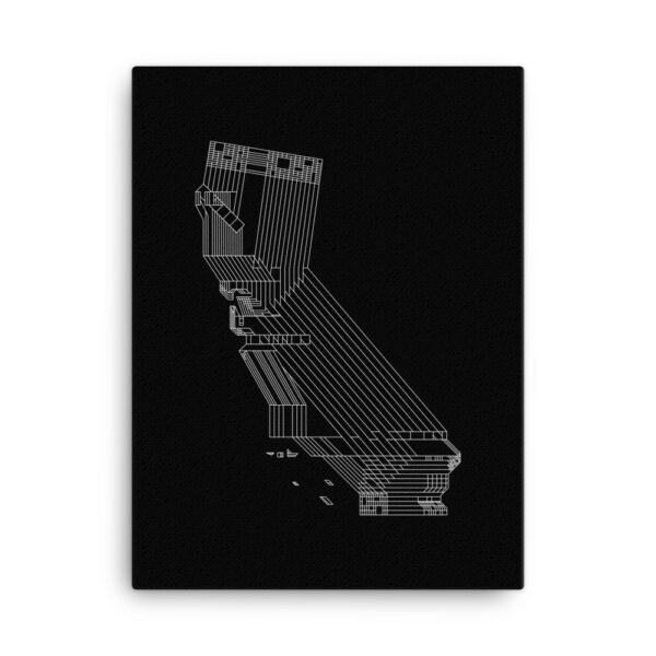 18 inch by 24 inch vertical stretched canvas art print of a white line drawing of the state of california on a black background