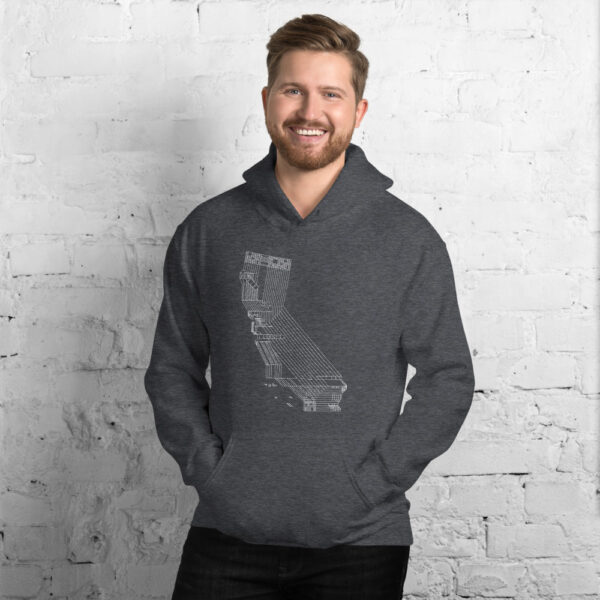 man wearing a dark grey hooded sweatshirt with a white line drawing of the state of california
