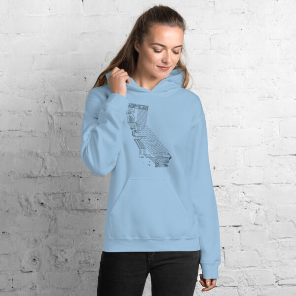 woman wearing a light blue hooded sweatshirt with a black line drawing of the state of california