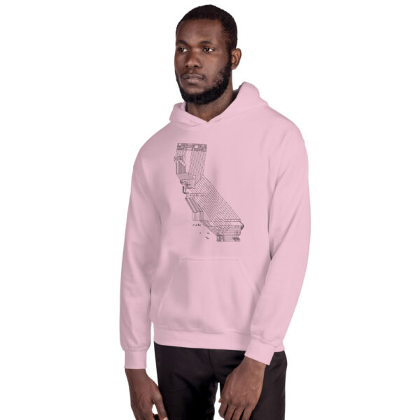 man wearing a pink hooded sweatshirt with a black line drawing of the state of california