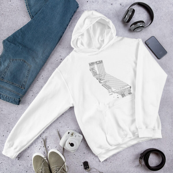 white hooded sweatshirt with a black line drawing of the state of california laying on a table next to jeans