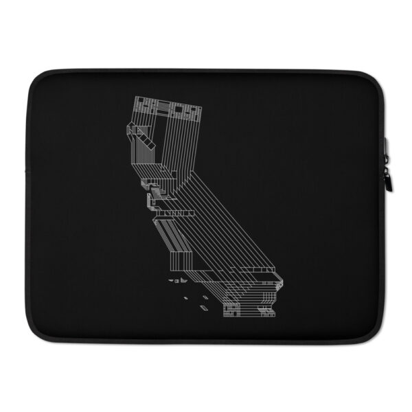 15 inch laptop sleeve with a white line drawing of the state of california on a black background
