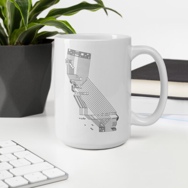 15 ounce white ceramic coffee mug with a black line drawing of the state of california on the side sitting on a desk
