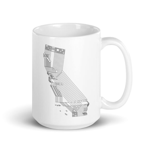 15 ounce white ceramic coffee mug with a black line drawing of the state of california on the side