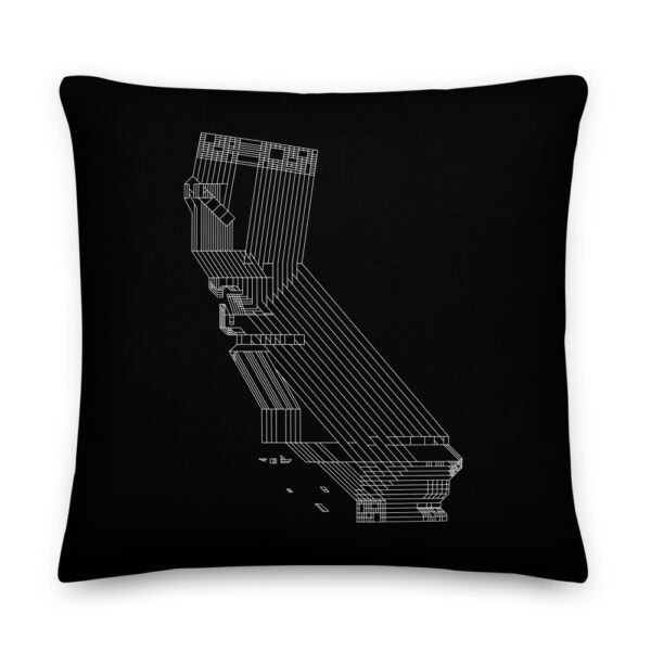 22 inch square black pillow with a white line drawing of the state of california