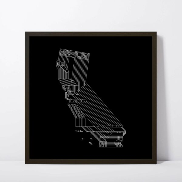 square fine art print with a white line drawing of the state of california on a black background in a black frame