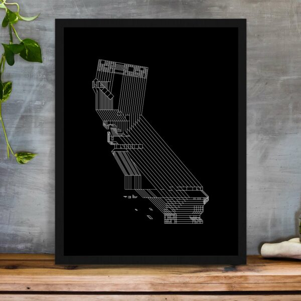 vertical fine art print with a white line drawing of the state of california on a black background in a black frame on a table