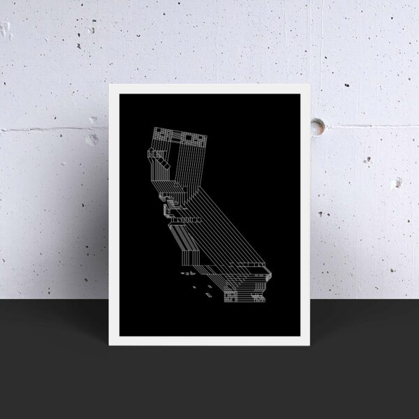vertical fine art print with a white line drawing of the state of california on a black background in a white frame