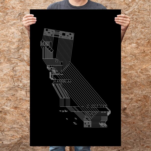 person holding a large vertical fine art print with a white line drawing of the state of california on a black background