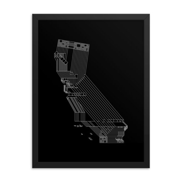 18 inch by 24 inch vertical fine art print with a white line drawing of the state of california on a black background in a black frame