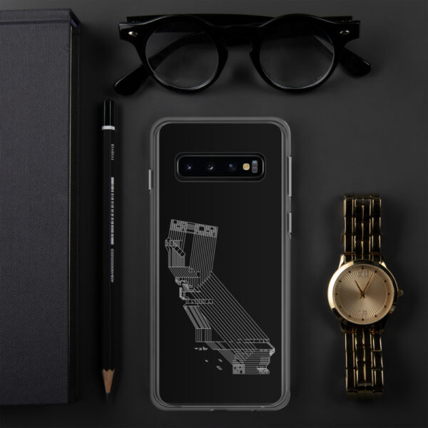 samsung phone case with a white line drawing of the state of california on a black background sitting next to a watch