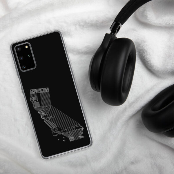 samsung phone case with a white line drawing of the state of california on a black background sitting next to headphones