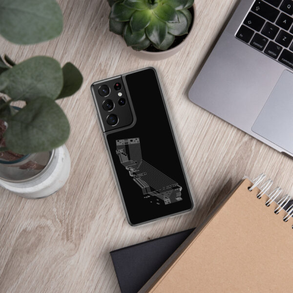 samsung phone case with a white line drawing of the state of california on a black background sitting next to a laptop
