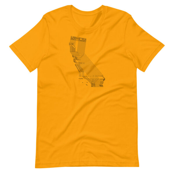 golden yellow short sleeve t-shirt with a black line drawing of the state of california design