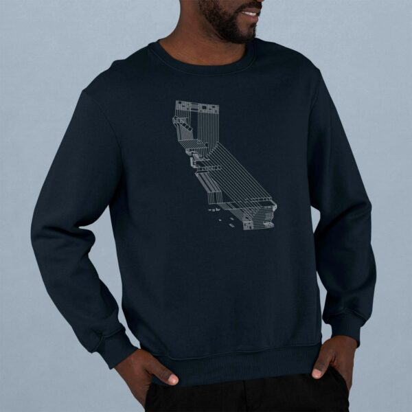 man wearing a navy blue long sleeve sweatshirt with a white line drawing of the state of california design
