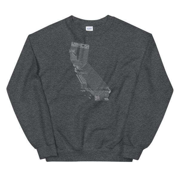 dark grey long sleeve sweatshirt with a white line drawing of the state of california design