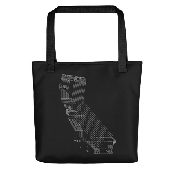 black tote bag with black handles and white line drawing of the state of california