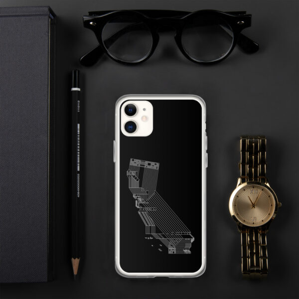 iphone case with a white line drawing of the state of california on a black background sitting next to a watch