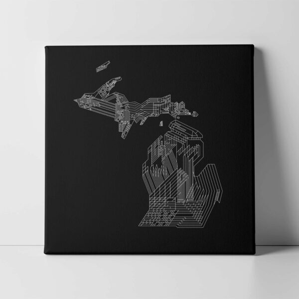square stretched canvas art print of a white line drawing of the state of michigan on a black background