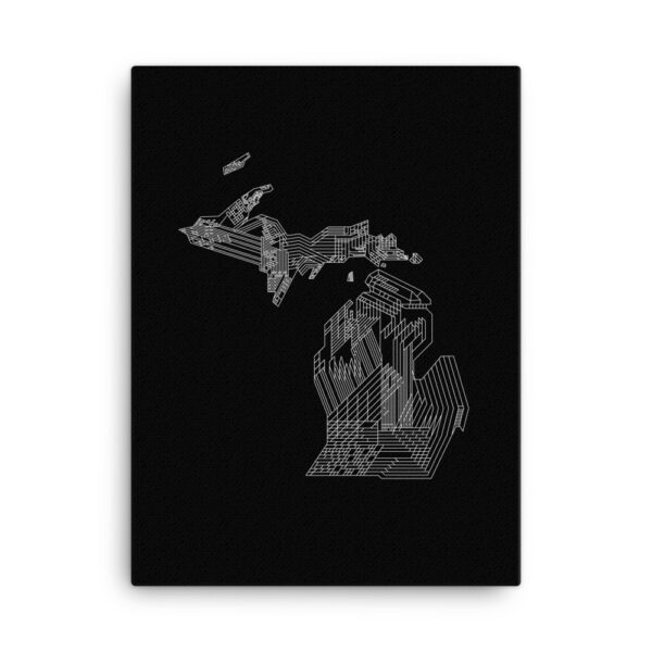 18 inch by 24 inch vertical stretched canvas art print of a white line drawing of the state of michigan on a black background