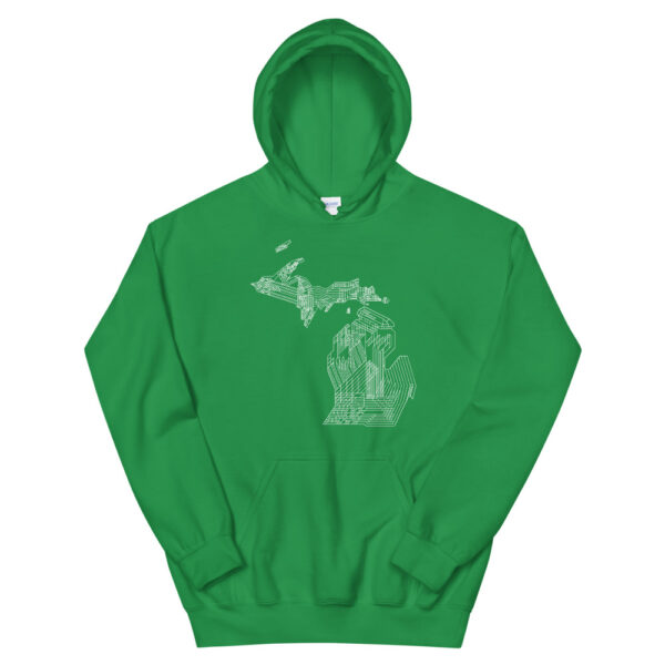 kelly green hooded sweatshirt with a white line drawing of the state of michigan