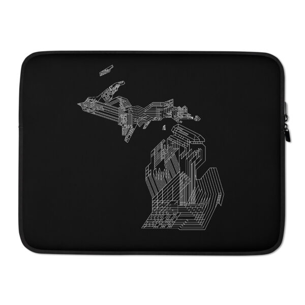 15 inch laptop sleeve with a white line drawing of the state of michigan on a black background