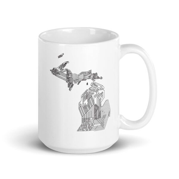 15 ounce white ceramic coffee mug with a black line drawing of the state of michigan on the side
